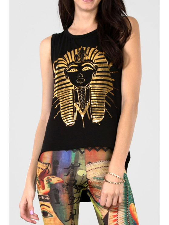 shop Pharaoh Print Jewel Neck Tank Top - BLACK XL