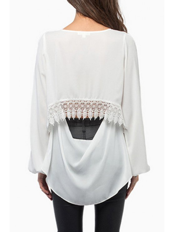ladies Cut Out Lace Spliced Long Sleeve Blouse - WHITE L