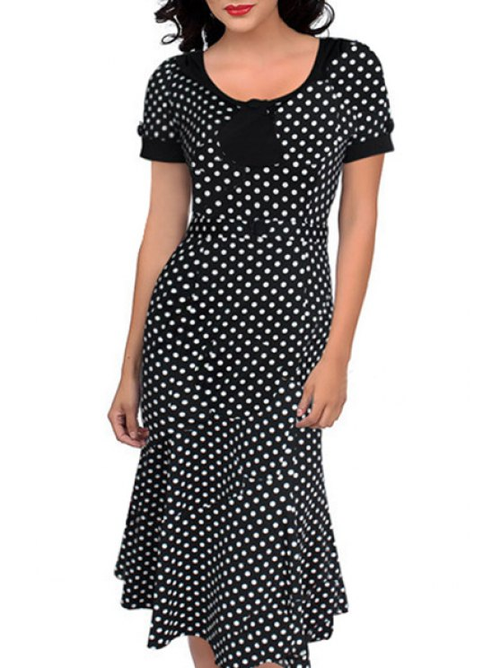 trendy Scoop Neck White Polka Dot Dress - AS THE PICTURE S