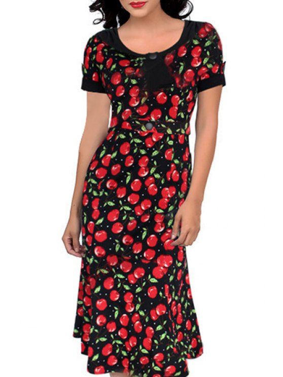 shops Scoop Neck Cherry Print Short Sleeve Dress - AS THE PICTURE S
