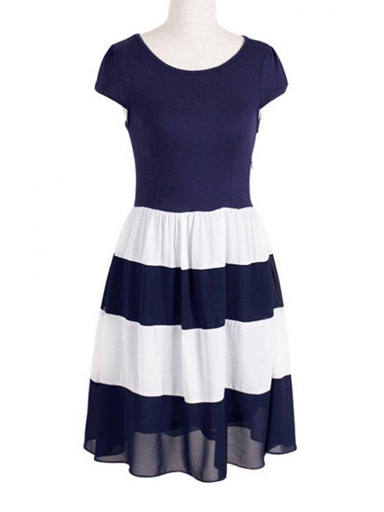 outfit Chiffon Splicing Color Block Short Sleeve Dress - PURPLISH BLUE S