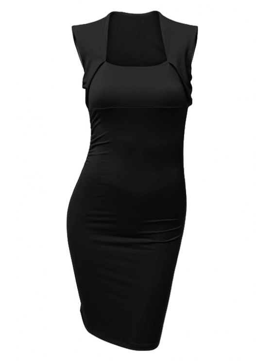 ladies Square Collar Solid Color Fitted Sleeveless Dress - BLACK M