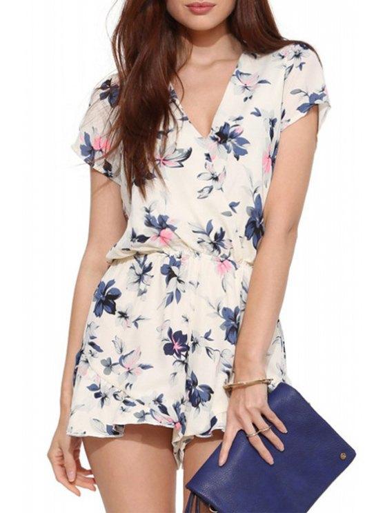 fancy Floral Chiffon V Neck Short Sleeve Playsuit - OFF-WHITE S