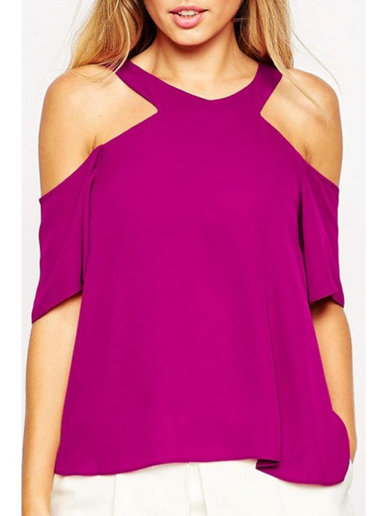 outfit Purple V Neck Half Sleeve Chiffon Blouse - PURPLE S