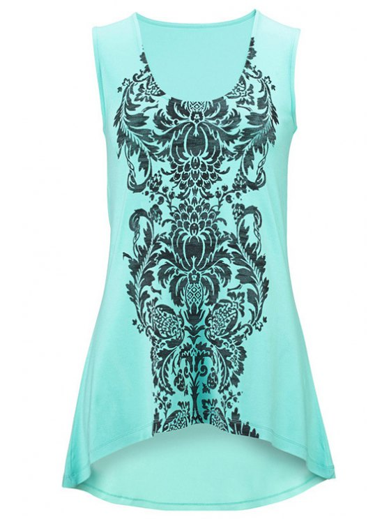 sale Totem Print High-Low Hem Tank Top - MARINE GREEN 2XL