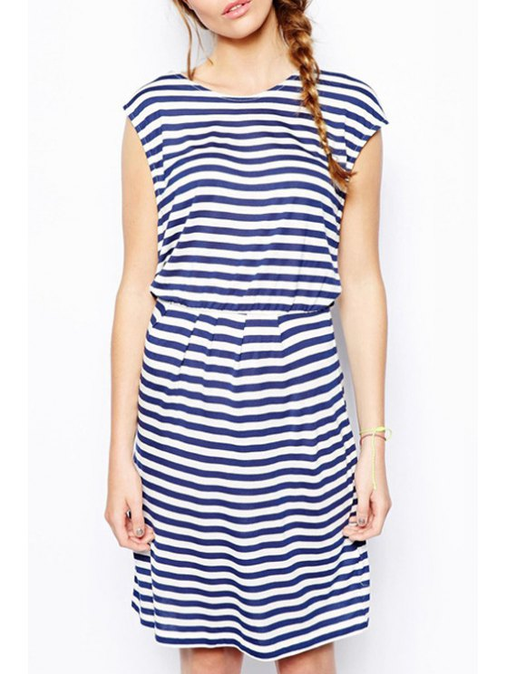 fashion Loose-Fitting Stripes Midi Dress - BLUE AND WHITE S