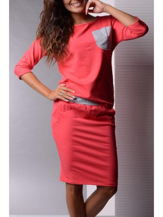 outfits Jewel Neck Pocket 3/4 Sleeve T-Shirt + Skirt - ORANGE S