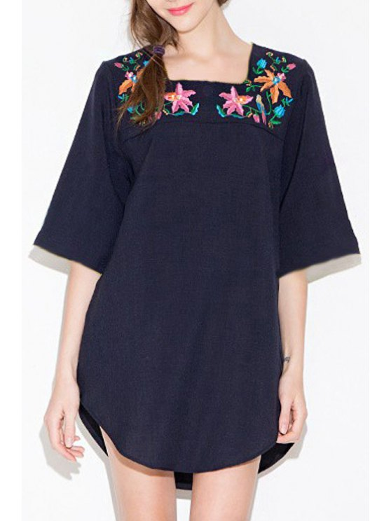 new Half Sleeve Floral Embroidery Dress - CADETBLUE S
