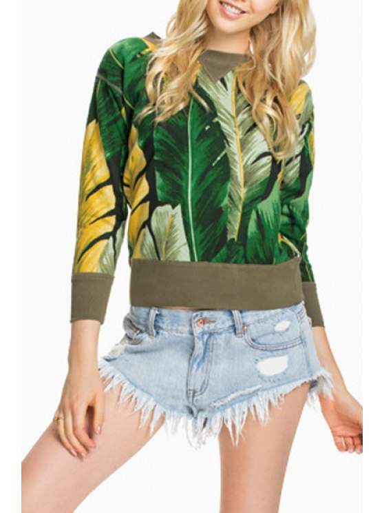 outfits Palm Print Long Sleeve Sweatshirt - GREEN S