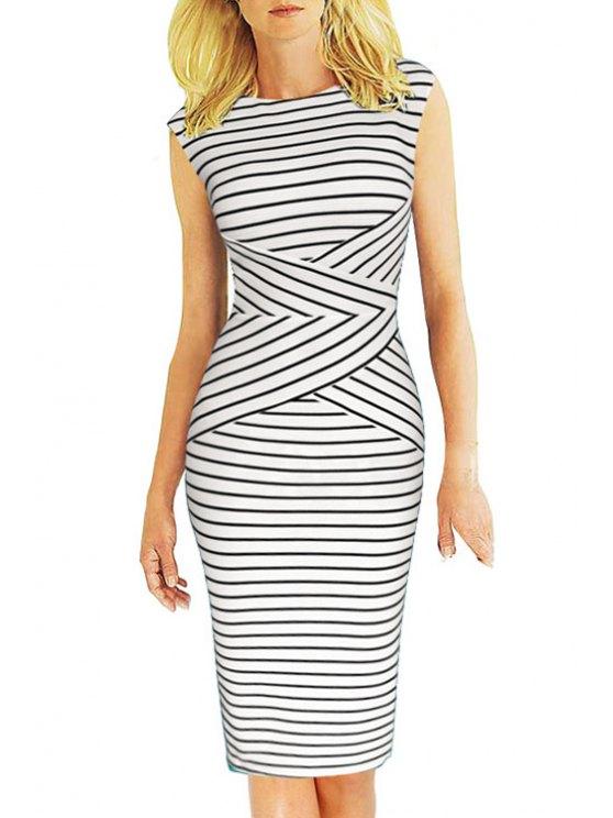 outfits Jewel Neck Stripes Sleeveless Dress - WHITE S