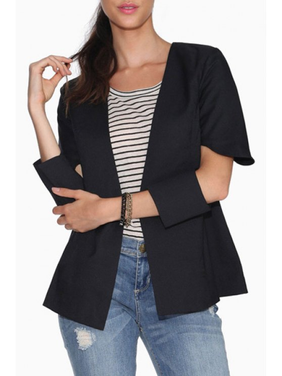 ladies Solid Color Hollow 3/4 Sleeve Blazer - BLACK S