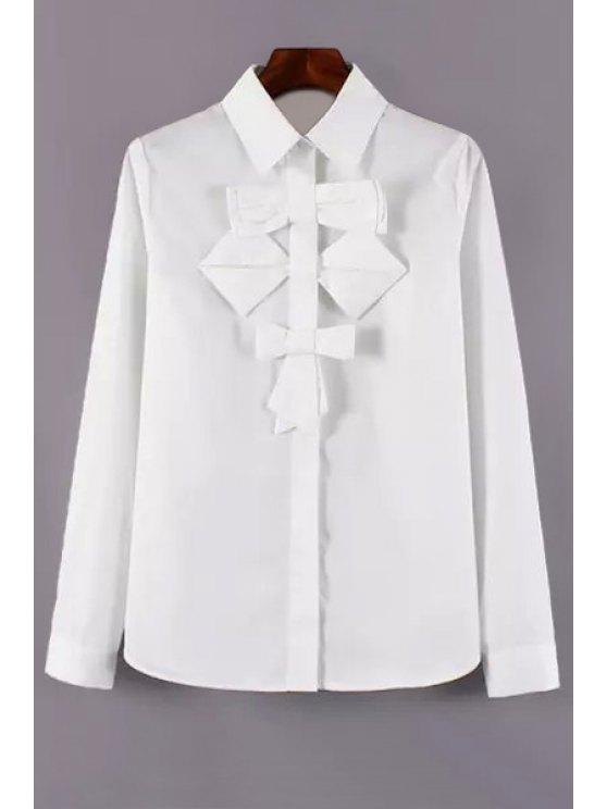 shops Single-Breasted Bowknot Embellished White Shirt - WHITE S