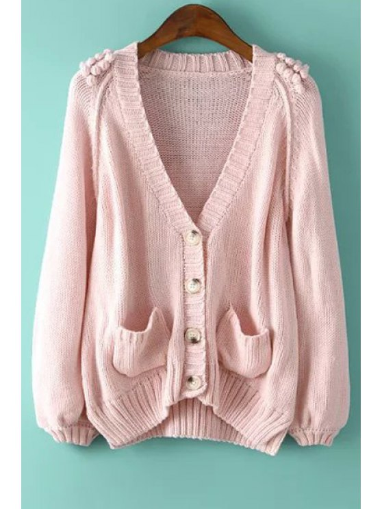 womens Solid Color Single-Breasted Two Pockets Cardigan - PINK ONE SIZE(FIT SIZE XS TO M)