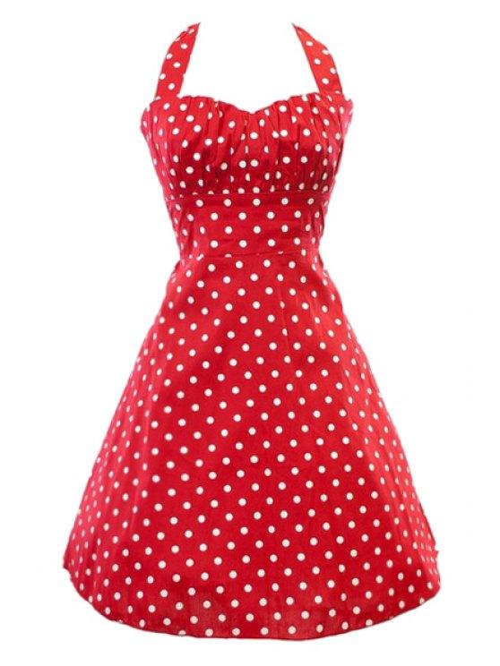 fashion Halter Neck Backless Polka Dot Sleeveless Dress - RED S