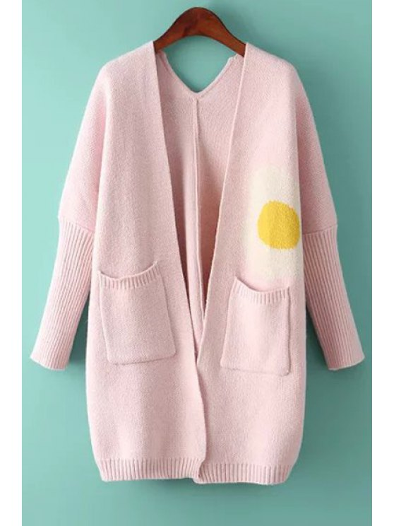 outfits Pocket Design Jacquard Loose-Fitting Cardigan - PINK ONE SIZE(FIT SIZE XS TO M)