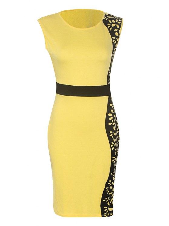 hot Black Print Floral Pattern Sleeveless Dress - YELLOW S