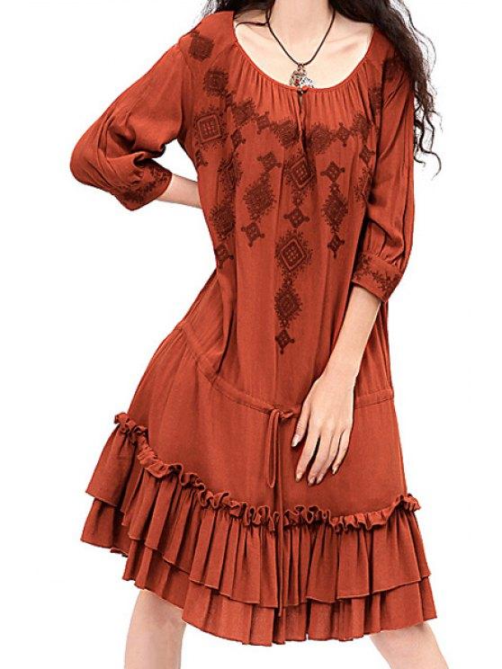 trendy Embroidery Scoop Neck Half Sleeve Dress - BRICK-RED S
