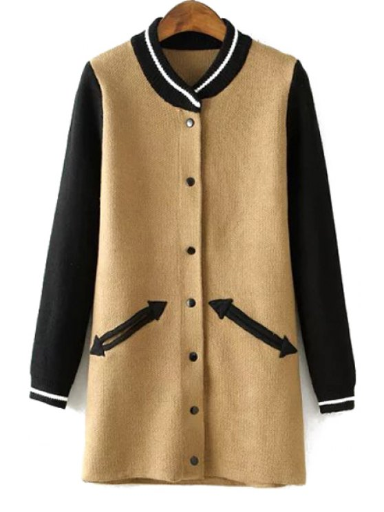 outfits Knitted Single-Breasted Jacquard Coat - KHAKI ONE SIZE(FIT SIZE XS TO M)