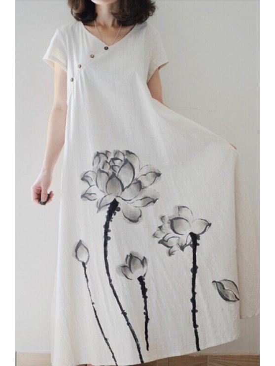 shops Ink Lotus Print Short Sleeve Dress - OFF-WHITE M