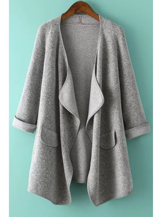 fashion Solid Color Knitted Irregular Hem Coat - GRAY ONE SIZE(FIT SIZE XS TO M)
