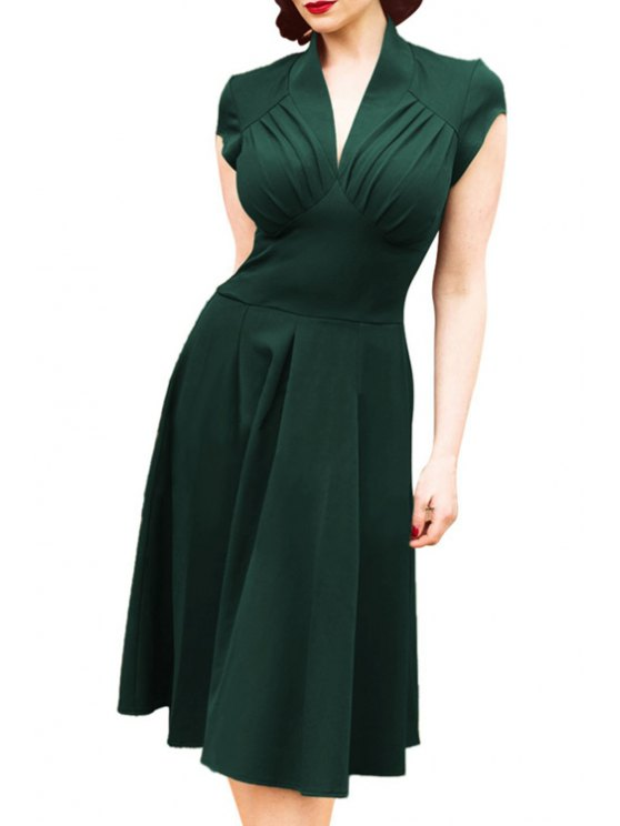 chic V-Neck Solid Color Ruffle Short Sleeve Dress - GREEN 2XL