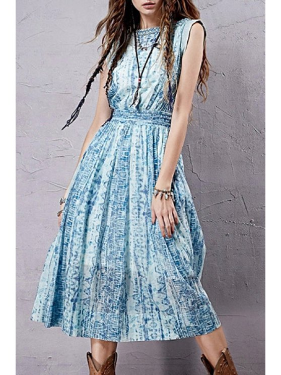online White Tank Top and Sleeveless Print Dress Twinset - WATER BLUE S