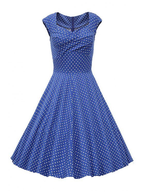 women's Sweetheart Collar Polka Dot Ruffle Short Sleeve Dress - LIGHT BLUE M