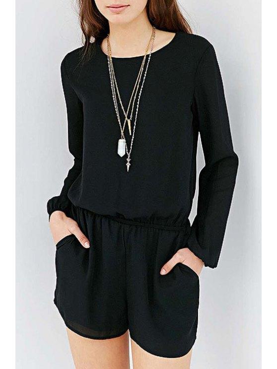 online Black Chiffon Long Sleeve Playsuit - BLACK XS