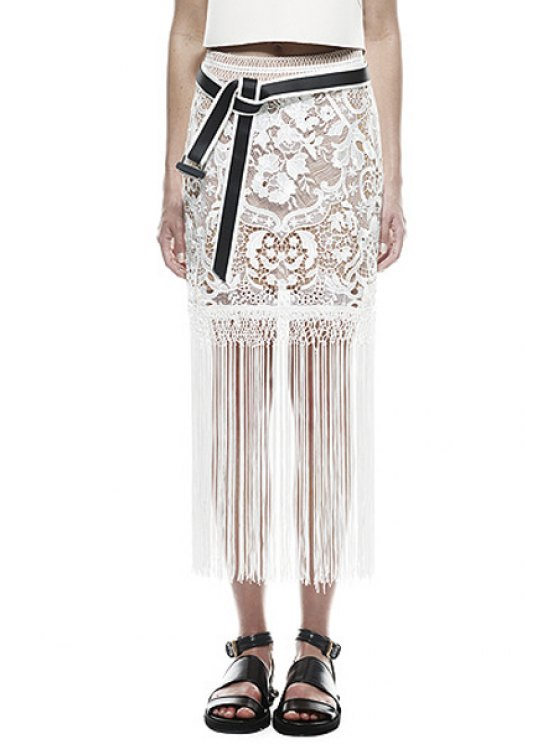 women See-Through Floral Pattern Lace Skirt - WHITE ONE SIZE(FIT SIZE XS TO M)