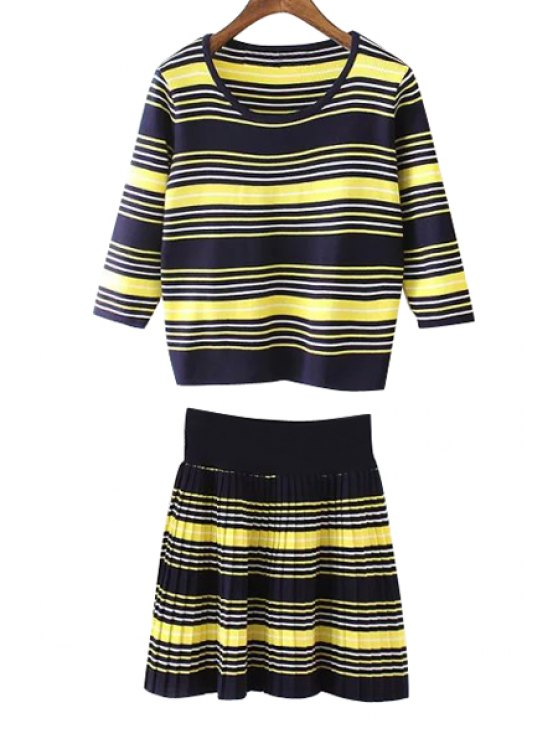 trendy Striped T-Shirt + Knitted Jacquard Skirt Twinset - BLUE AND YELLOW ONE SIZE(FIT SIZE XS TO M)