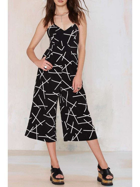 online Spaghetti Strap White Stripe Print Jumpsuit - BLACK S