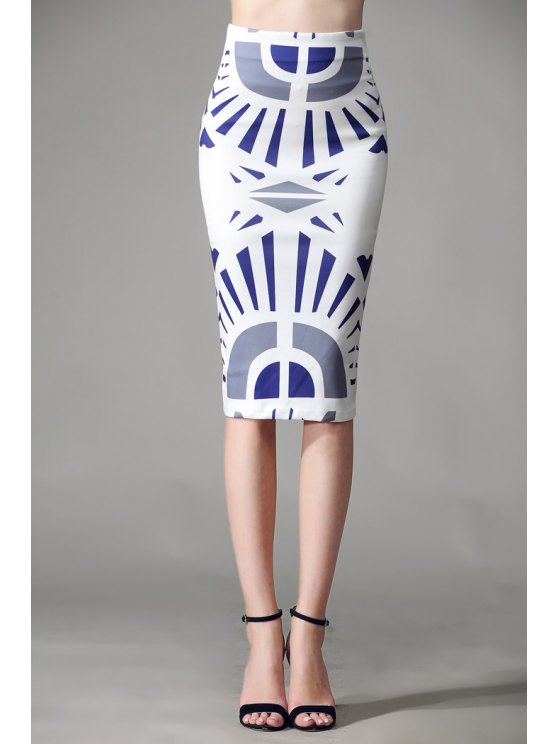 women's Geometric Print Zipper Fly Skirt - WHITE S