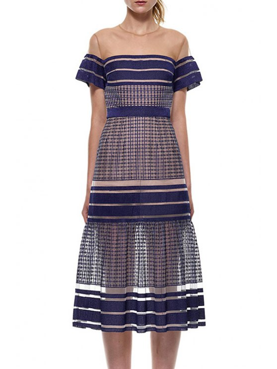 fancy See-Through Stripe Short Sleeve Dress - AS THE PICTURE S