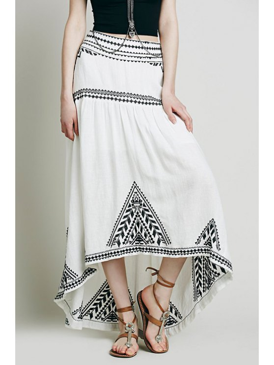 hot Geometric Pattern Embroidery Skirt - WHITE S