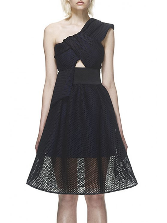 hot One Shoulder See-Through Hollow Out Dress - BLACK S