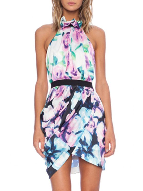 new Halter Neck Floral Print Backless Dress - AS THE PICTURE S