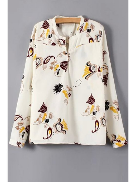shops Paisley Print Stand Neck Long Sleeve Shirt - OFF-WHITE S