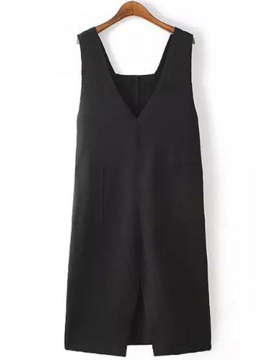 women's Black Plunging Neck Sleeveless Dress - BLACK M