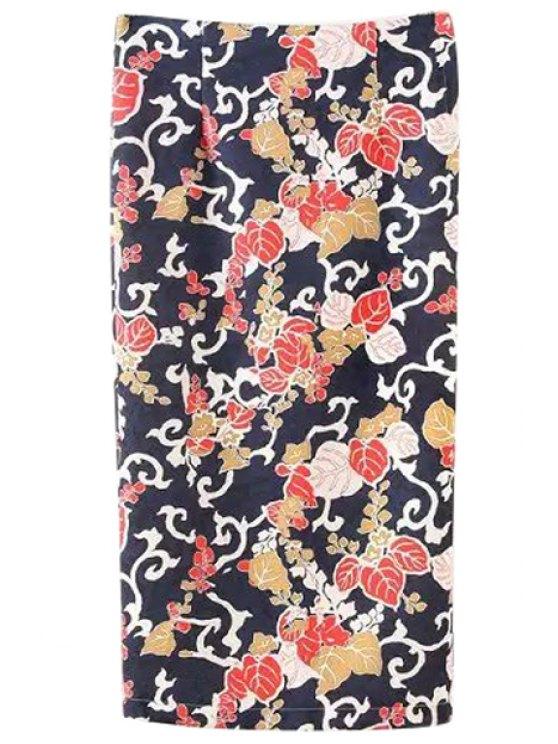 lady Floral Print Back Slit Mid-Calf Skirt - BLACK S