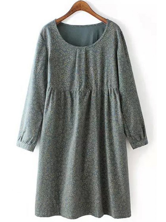 sale Tiny Floral Scoop Neck Long Sleeve Dress - ARMY GREEN XL
