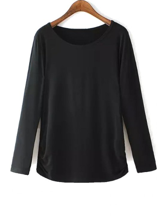 affordable Black Scoop Neck Long Sleeve T-Shirt - BLACK L