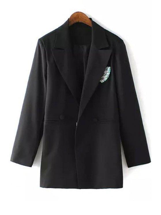 outfits Black Lapel Neck Long Sleeve Blazer - BLACK M