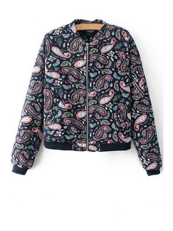 trendy Full Paisley Print Long Sleeve Jacket - BLACK S
