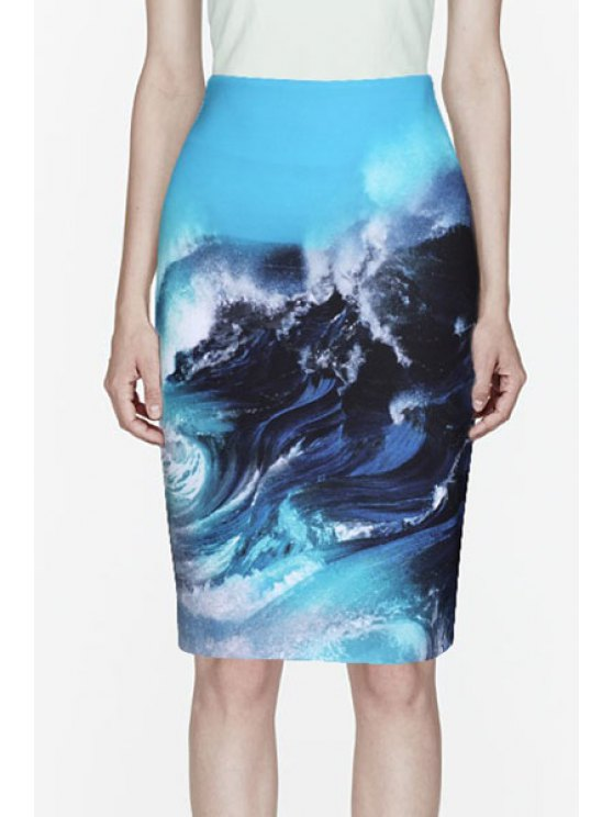 unique Sea Wave Print Zipper Fly Skirt - AS THE PICTURE S