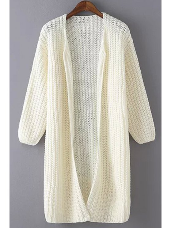 new Solid Color Lantern Collarless Cardigan - WHITE ONE SIZE(FIT SIZE XS TO M)