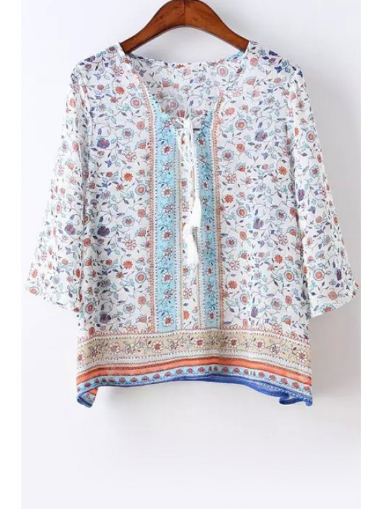 outfit Tiny Floral Chiffon 3/4 Sleeve Blouse - BLUE AND WHITE S