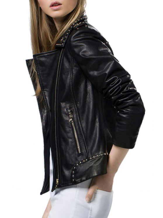 affordable Black Lapel Neck Faux Leather Jacket - BLACK S