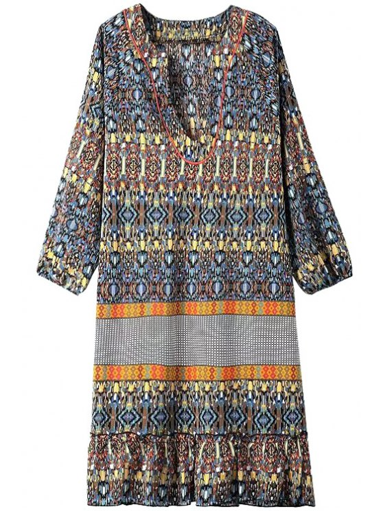 shop Paisley Print V Neck 3/4 Sleeve Dress - YELLOW S