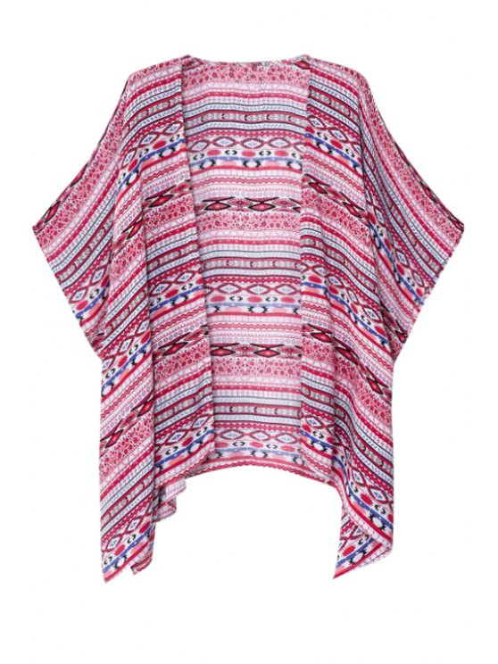 best Collarless Argyle Stripe Short Sleeve Blouse - AS THE PICTURE L