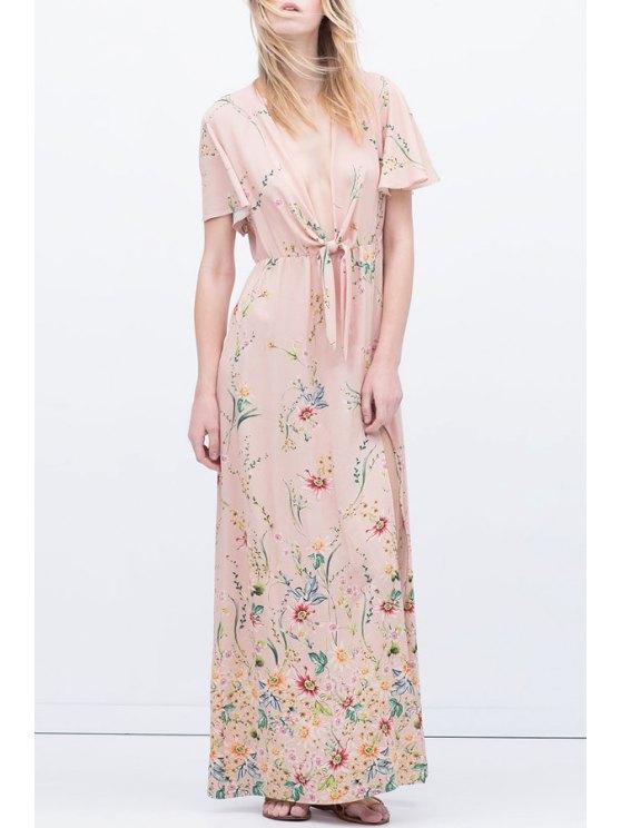 shop Plunging Neck Floral Print Maxi Dress - PINK S